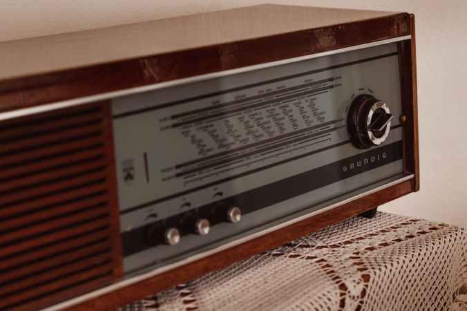 retro radio on table in house