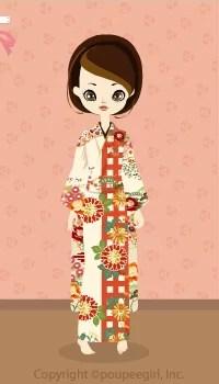Kimono-Check And Chrysanth / 10A