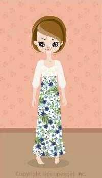 Flower Long Dress / Bl09D