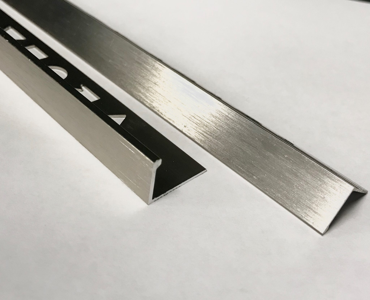 vroma brushed stainless steel straight edge l shape 2 5m heavy duty aluminium tile trims