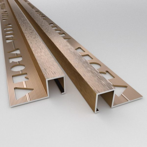 vroma brushed bronze box square edge 2 5m heavy duty aluminium tile trims