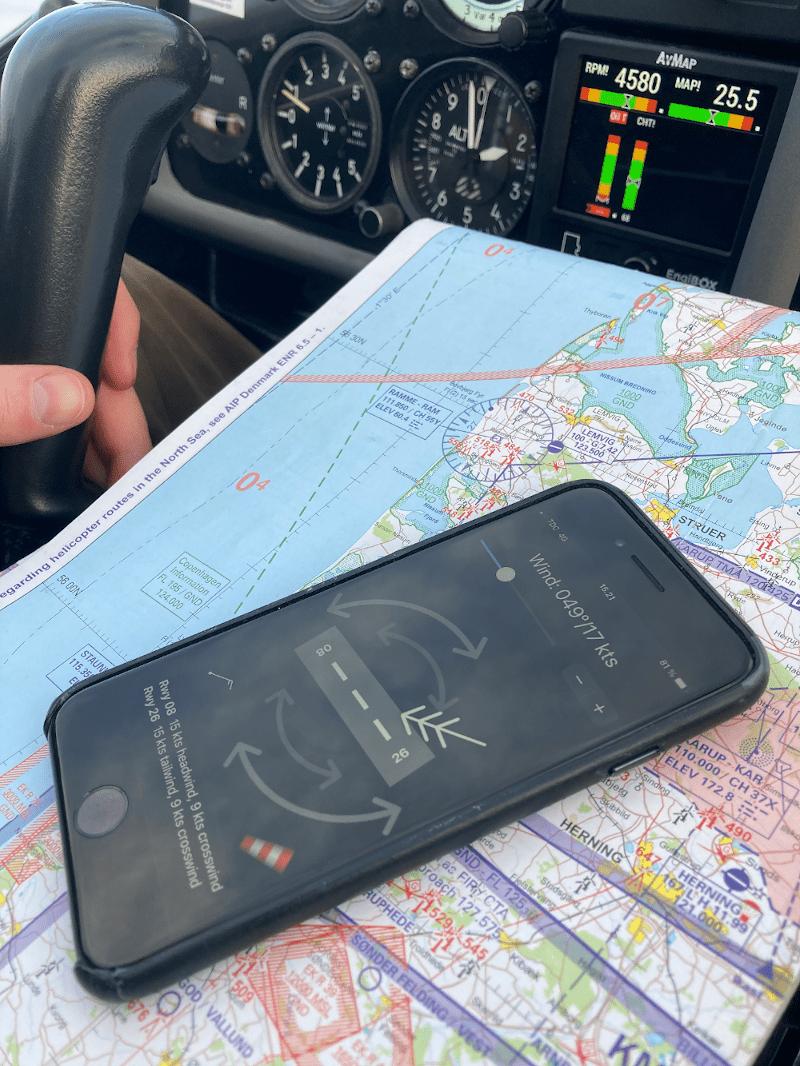 Runway Wind app in cockpit