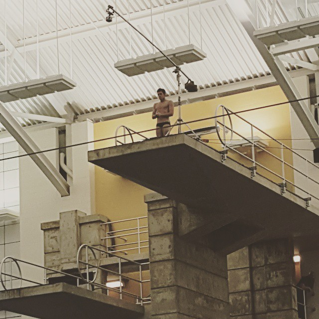 360-degree camera rig capturing David Boudia dive from a 10-meter platform