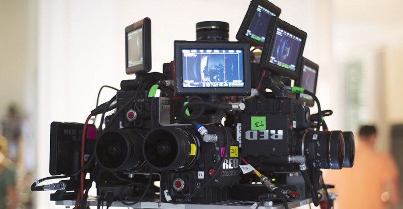 Nine RED Dragon stereoscopic VR rig