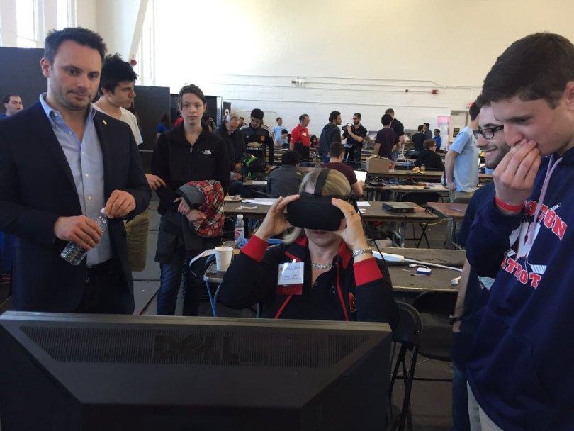 Freshmen at UMD showing off their hack to Brendan Iribe of Oculus.