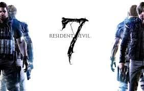 A Resident Evil 7 advertisement poster, with a RE logo superimposed on a white background