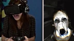 picture of girl playing Oculus Rift, and a picture of scary female from the game Dreadhalls beside it.