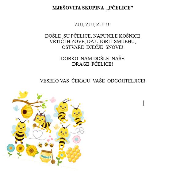 """MJEŠOVITA SKUPINA  """"PČELICE"""""""