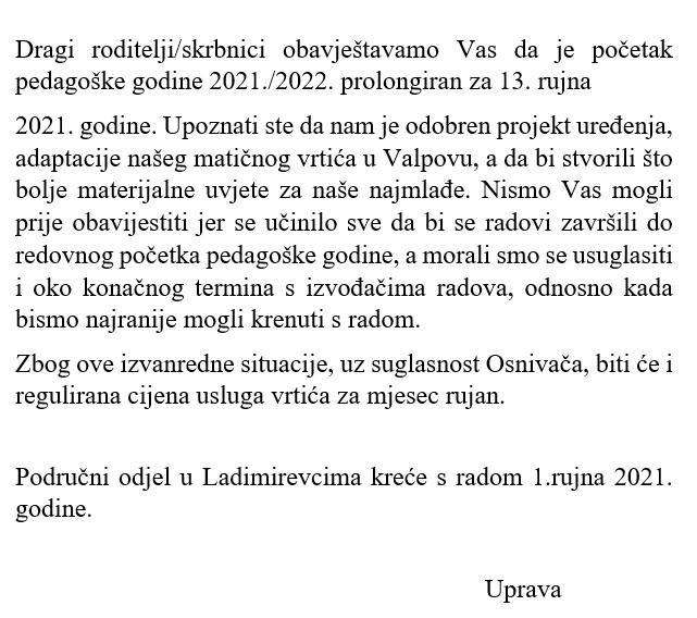 Obavijest o početku rada za pedagošku godinu 2021./2022.