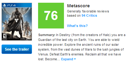 Destiny Metacritic