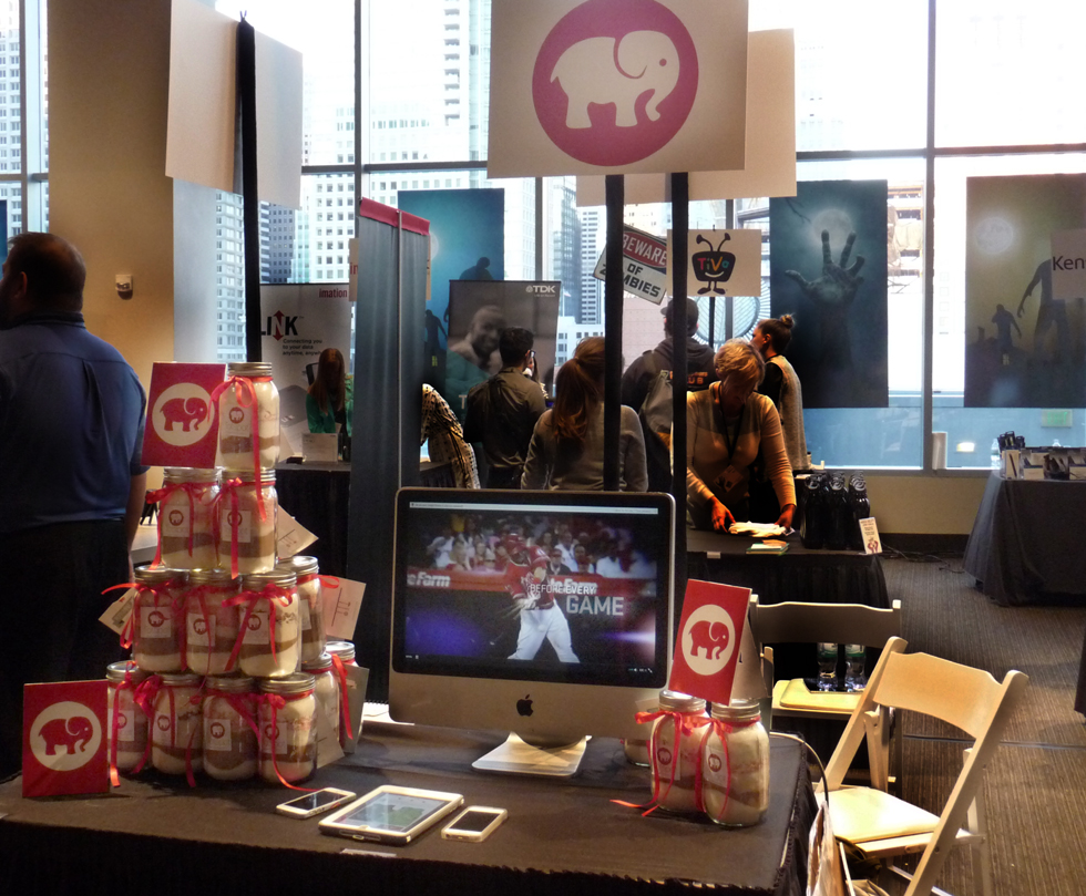 Totspot gave away jars of peppermint cookie mix at Pepcom