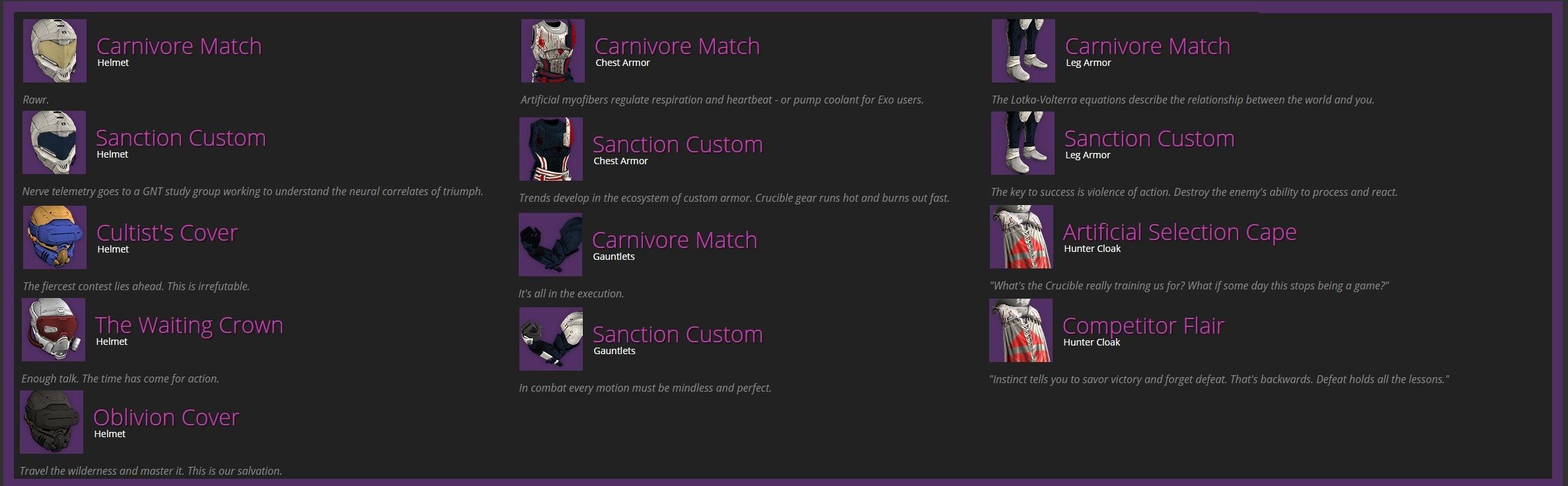 Destiny HoW Leak Hunter Vendor Armor
