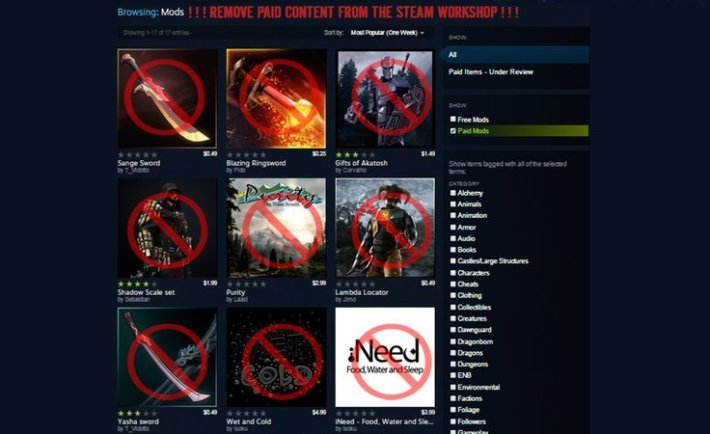 Petition to Remove Paid Mods on Steam Hits 67,000 Signatures