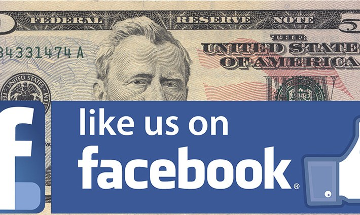US$50 Dollar Bill with Facebook Imposed.