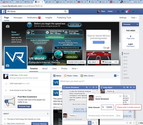 How to pay on Facebook? Select the Dollar ($) sign, put in the desired amont and press send.