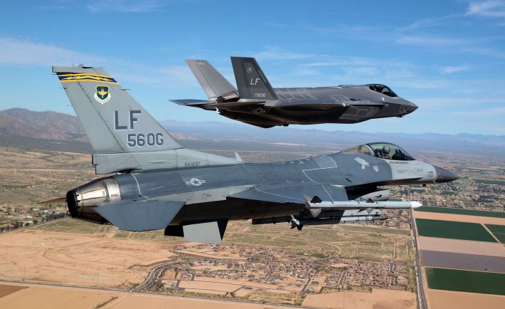 F-35 With F-16 Wallpaper
