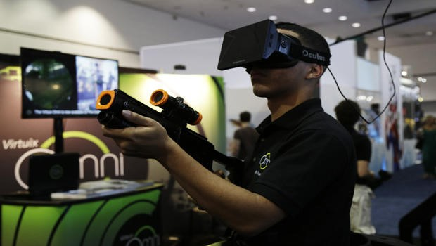 Virtuix controller includes a gun for targeting and shooting in Virtual environment.