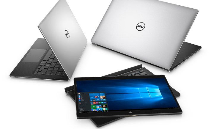 Three Dell XPS notebook computers arranged in a circle. An XPS 13 (Model 9350, Dino 2 XPS) notebook is on the far left, open 45 degrees facing back left. An XPS 12 (Model 9250) 2-in-1 (Veneno) sits in the middle, with the tablet screen resting on top of a keyboard attachment and an XPS 15 (Model 9550, Berlinetta XPS) computer is on the far right, open 45 degrees and facing back right.