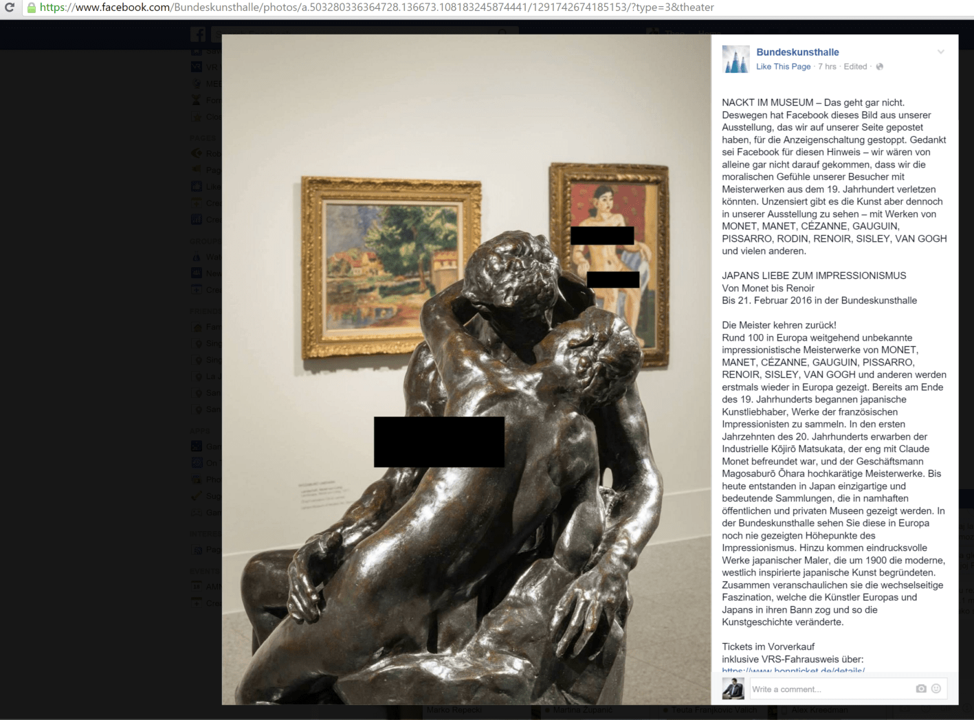 The museum was forced to censor the image in order to make Facebook censors happy.