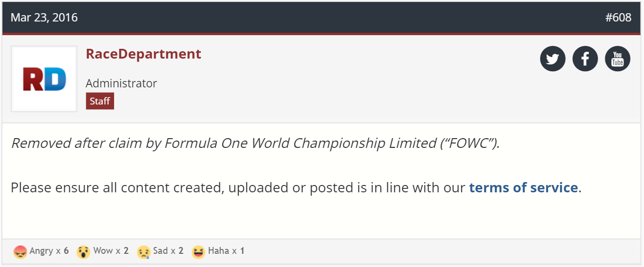 Race Department FOWC Copyright