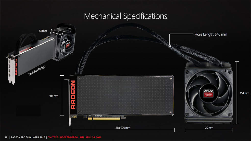 AMD Radeon Pro Duo Mechanical Specifications