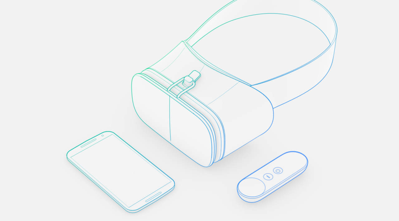 An illustration of Google's Daydream VR headset and controller