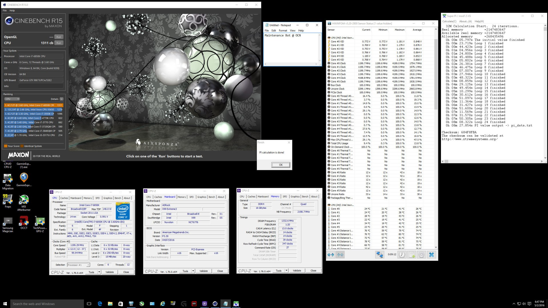 Intel Core i7 6850K Cinebench and SuperPI Results
