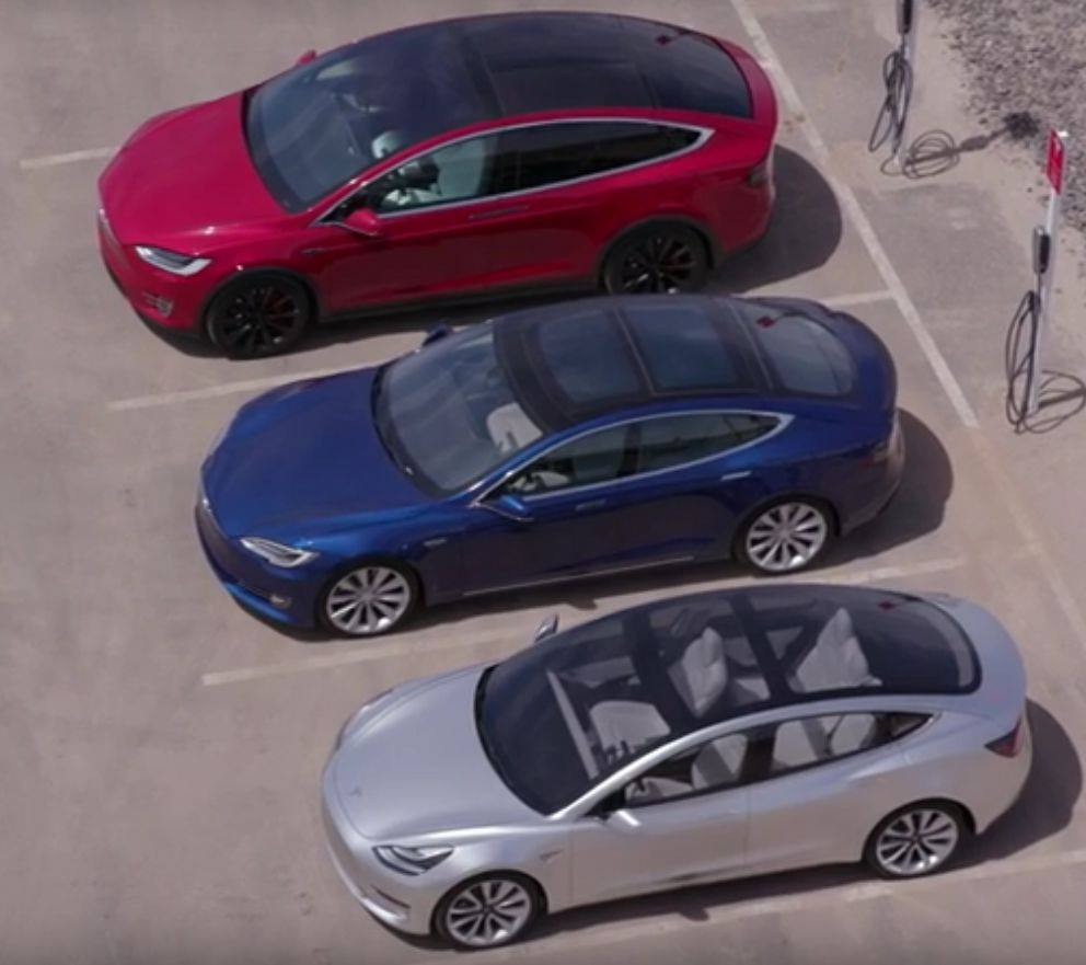 Tesla Motors cars side by side: 2018 Model 3 on the bottom, 2016 Model S and 2016 Model X on top