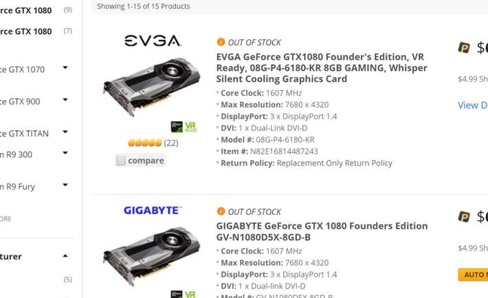 Nvidia GeForce GTX 1070 and 1080 in short supply