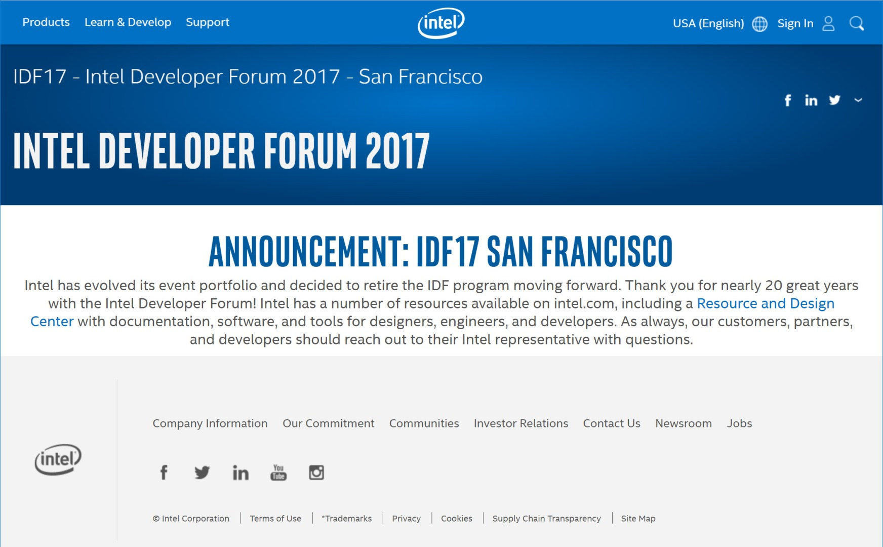 Intel Cancels IDF17 in San Francisco
