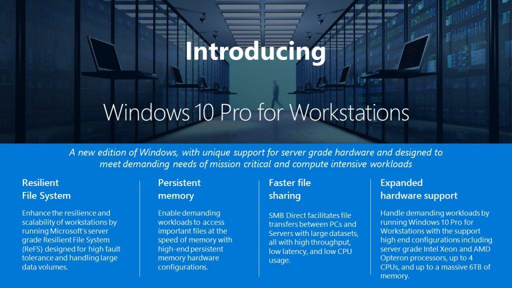 Microsoft Launches Windows 10 Pro for Workstations