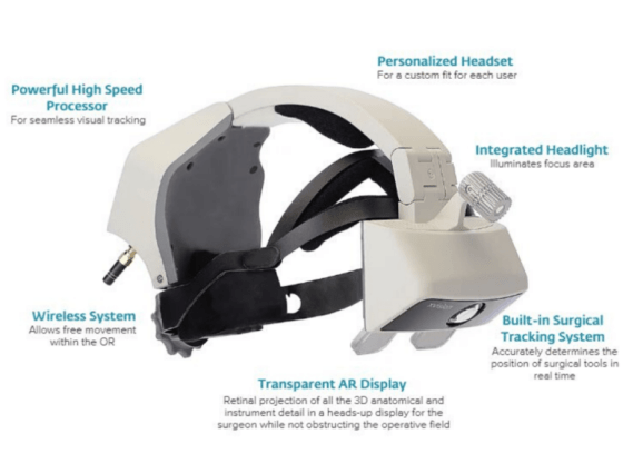 Augmedics xvision AR headset used in spinal fusion surgery 3