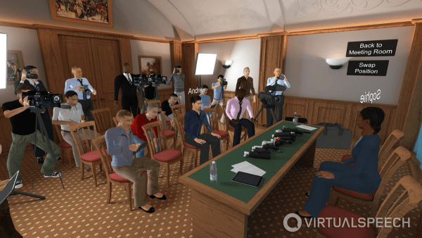 From practicing an elevator pitch to learning how to deliver a keynote speech, and even speaking at a press conference, VirtualSpeech learners can now have a personal coach training them live in VR