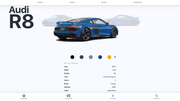 An screengrab of the RelayCars  virtual showroom, showing a car and its features