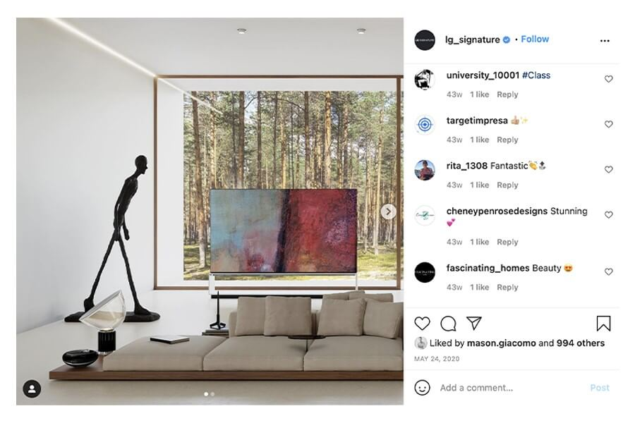 Instagram performance for LG Signature's social media campaign