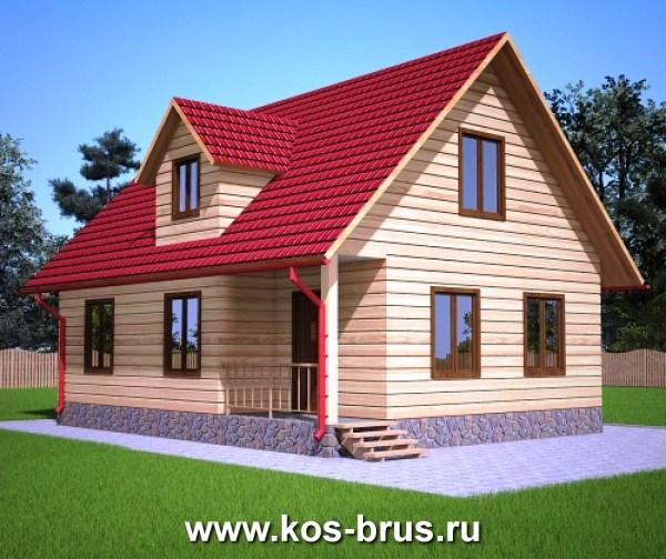 Проект полутороэтажного дома с террасой 7 84м2