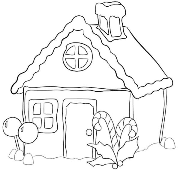 Раскраска пряничный домик скачать и распечатать