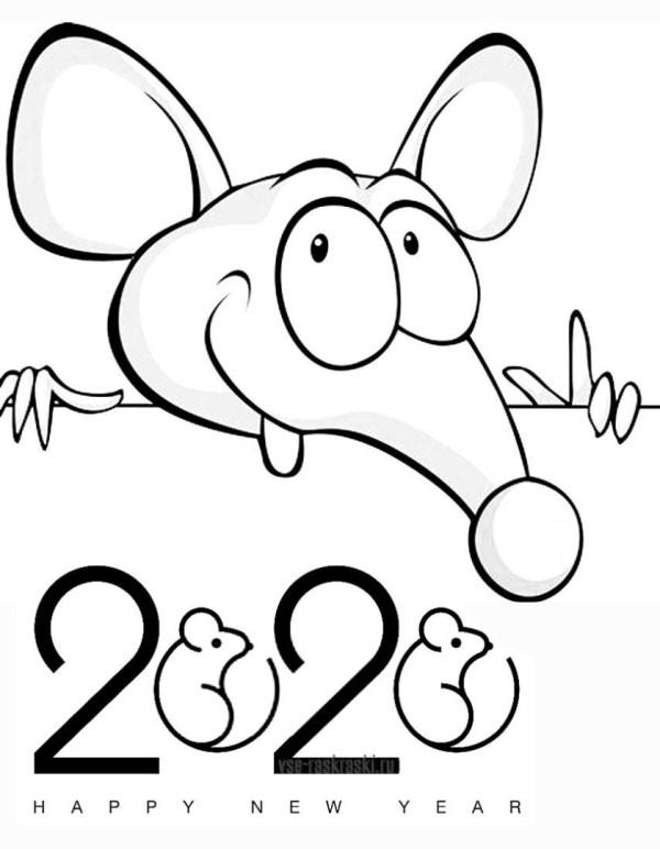Раскраски на Новый 2020 год Крысы и мышки. Распечатать ...