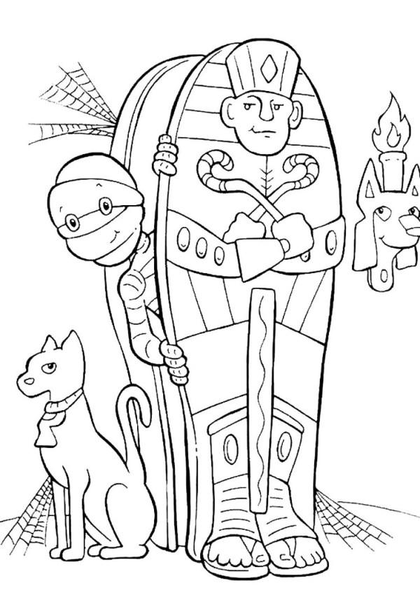 Раскраска мумия скачать, распечатать или рисовать онлайн