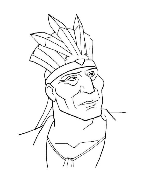 Раскраска Покахонтас. Распечатать картинку раскраску
