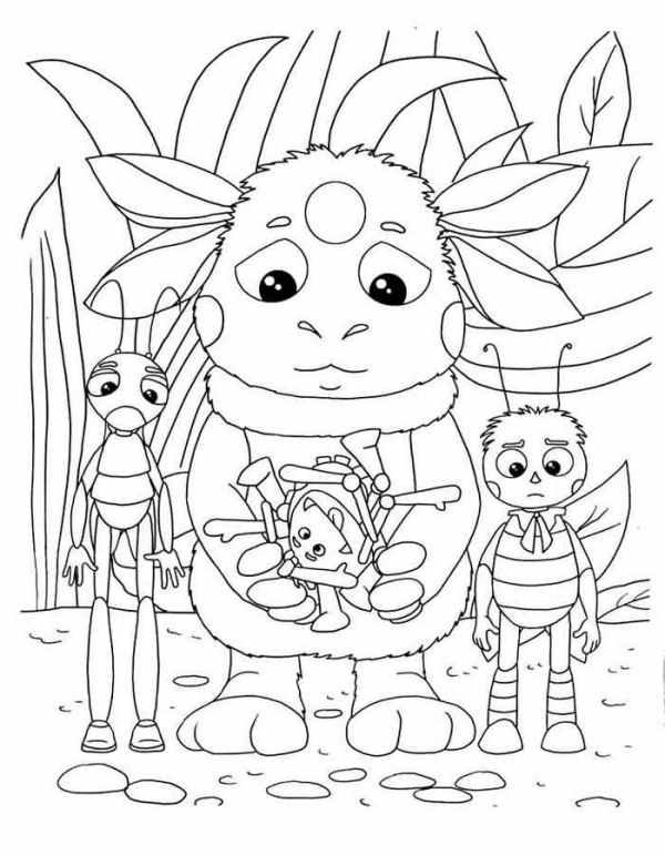 Раскраска Лунтик и его друзья Распечатать картинки для