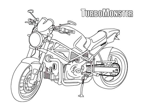 Раскраска мотоцикл для мальчиков Распечатать картинки