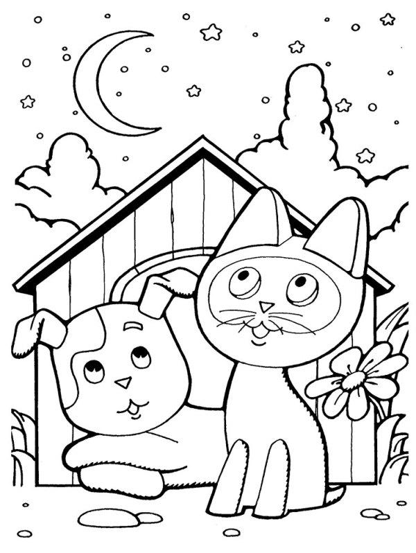 Раскраска котенок по имени Гав. Распечатать картинки для ...