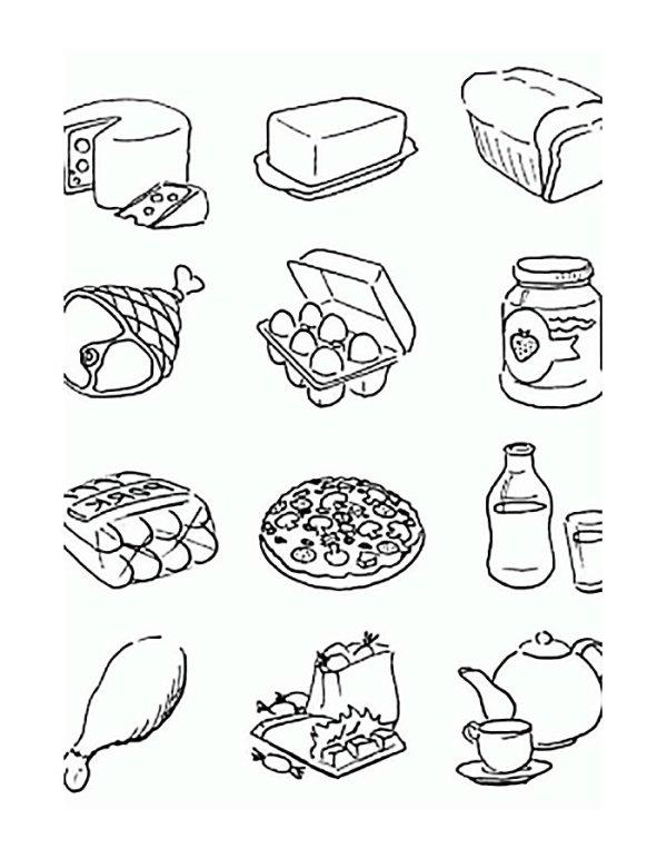 Раскраска еда на тарелке и продукты. Распечатать картинки ...