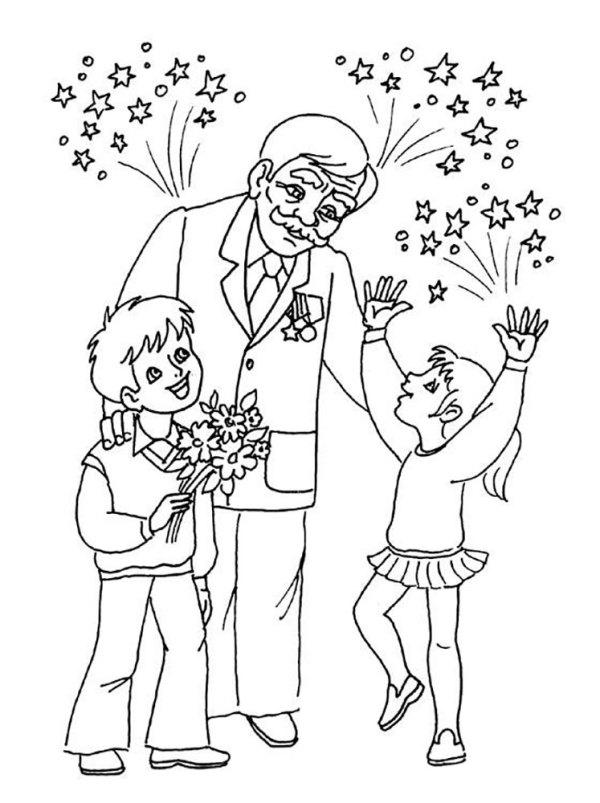 Раскраска дедушка Распечатать разукрашки Дедушек
