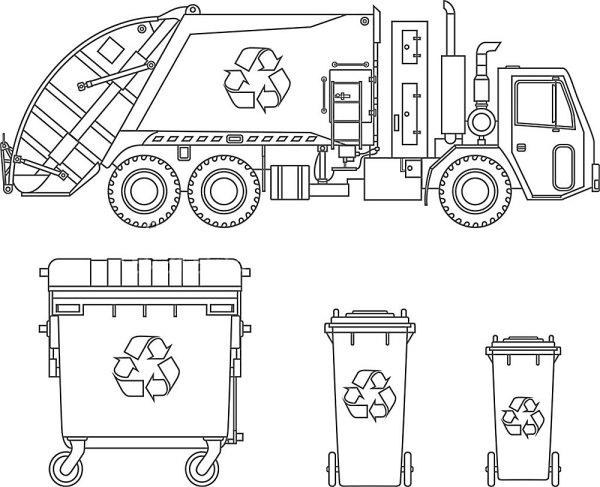 Раскраска мусоровоз скачать и распечатать