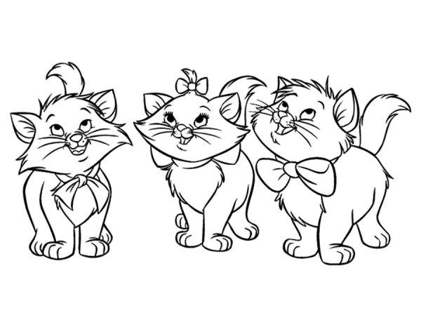 Раскраска Коты аристократы скачать и распечатать