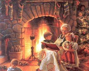 бабушка читает книгу внукам