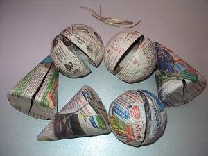 шары из папье-маше высохли