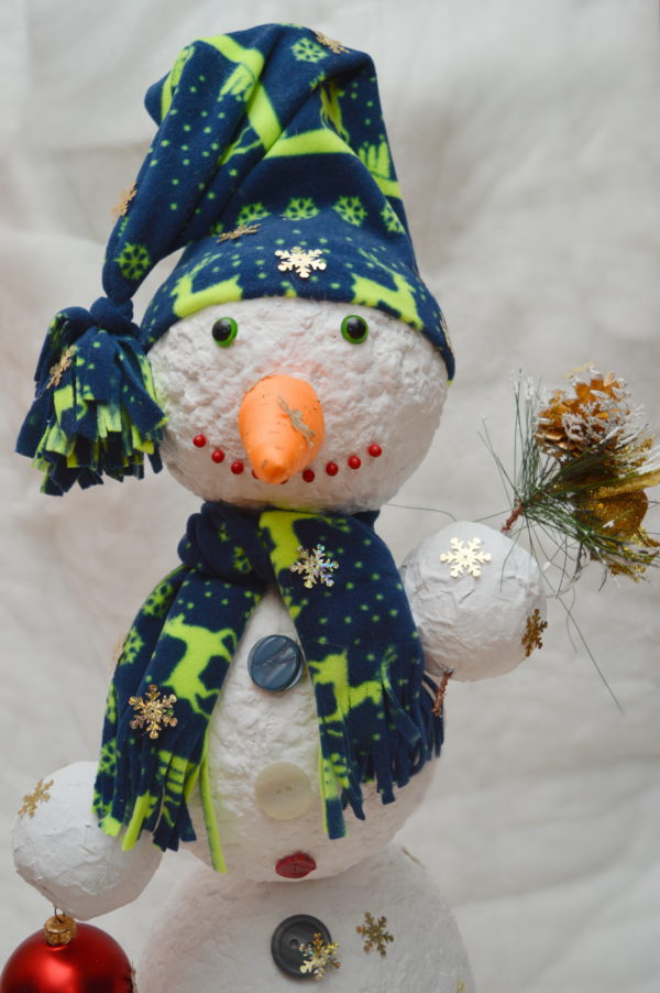 поделка снеговик из папье-маше